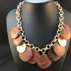 Vintage wood disc and coin necklace